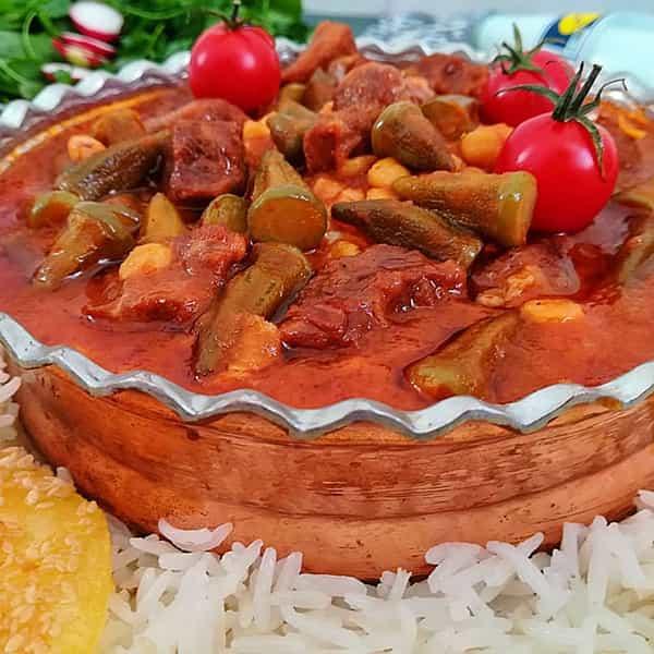 طرز تهیه خورشت بامیه با مرغ گوشت چرخ کرده با کوفته قلقلی و لپه با سیب زمینی با رب انار با تمر هندی بدون گوشت o va fhldi