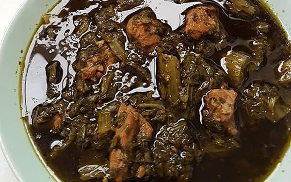 آموزش دستور پخت و طرز تهیه خورش کرفس با رب و گوشت ، مرغ ، لوبیا و سبزی خشک برای 10 نفر