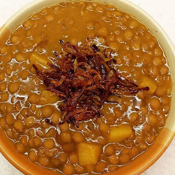 طرز تهیه عدسی رستورانی اسان کرمانشاهی برای کودک خوشمزه و لعابدار بدون سیب زمینی مجلسی با گوشت با قارچ