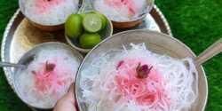 طرز تهیه فالوده شیرازی با نشاسته در منزل با شربت مخصوص