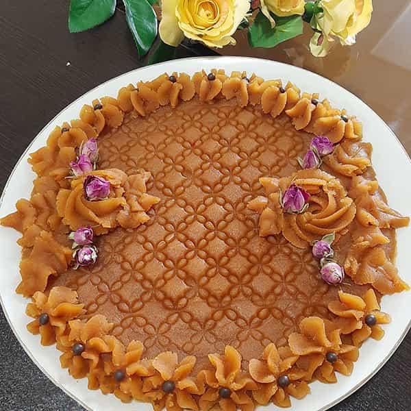طرز تهیه حلوا برای 10 نفر برای 4 نفر ساده برای 4 نفر برای مراسم ختم برای 50 نفر زعفرانی با آرد سفید دو رنگ