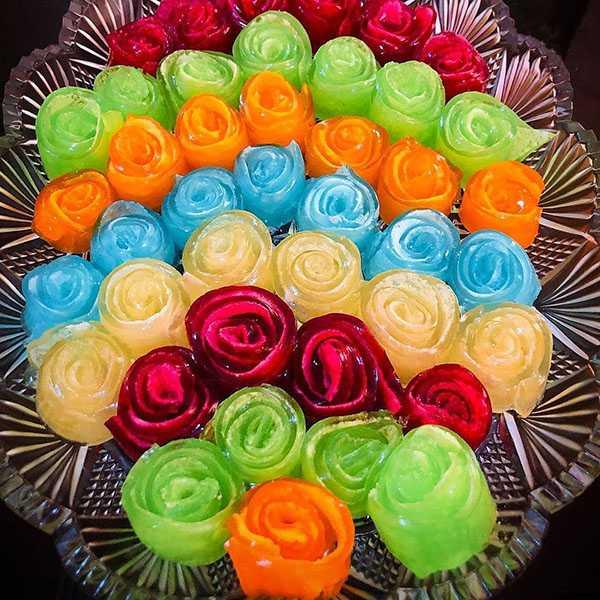 طرز تهیه ژله رولی بدون بستنی با خامه گل رز دو رنگ قالبی رنگین کمانی با مارشمالو چرا ژله رولی میشکند رولتی با شیر ژله رولی هندوانه طلایی