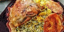 طرز تهیه باقالی پلو با مرغ ریش ریش نی نی سایت سراشپز پاپیون برای 4 نفر با شوید تازه