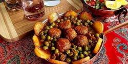طرز تهیه خورش نخود فرنگی خوشمزه و مجلسی با گوشت قلقلی