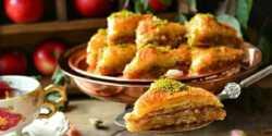 طرز تهیه باقلوای سیب خوشمزه و مخصوص با گردو و بادام
