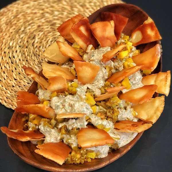 فته لبنانی , طرز تهیه فته لبنانی , دستور پخت فته لبنانی با بادمجان و سیب زمینی