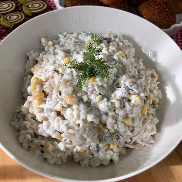سالاد گندم و مرغ , طرز تهیه سالاد گندم و مرغ , دستور پخت سالاد گندم و مرغ